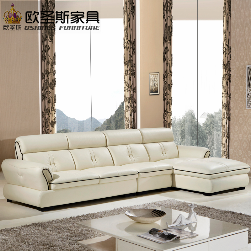 Modern design sectional small house mexico mini leather sofa with center table OCS-638 sectional sofa with button tufted design brown microfiber