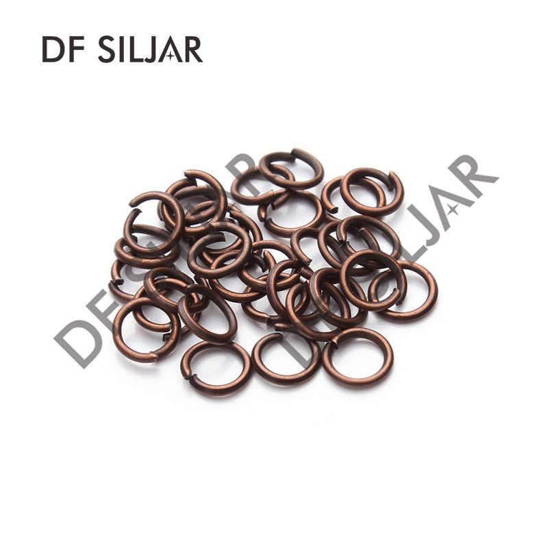 100 piezas de Metal 4 5 6 7 8mm anillos de salto cerrados abiertos anillos divididos conectores de cobre rojo para joyería haciendo conclusiones Y517