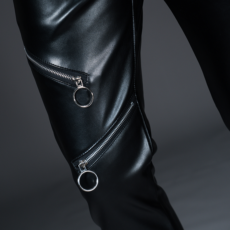 New Winter Spring Men's Skinny Leather Pants Fashion Faux Leather Trousers For Male Trouser Stage Club Wear Biker Pants 34