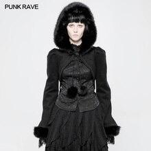 PUNK RAVE Gothic Lolita Women Fashion Cloak Punk Limitation Rabbit Hair Party Short Jacket Victorian Style Hooded Coat