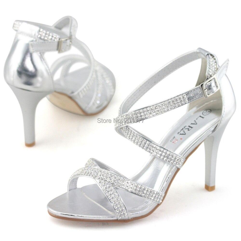 Silver sandals or shoes - Aliexpress Com Buy Laras Brand Silver White Wedding Shoes For Women Ladies Diamond Diamante Stilettos High Heel Sandals Party Dress Shoe Sandel New From