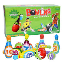 Outdoor Sports Toys Games New Bowling Play Set Foam Ball Toy Gifts Educational Early 10 Pins and 2 Ball Indoor M0319(China)