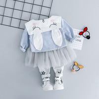 Lovely Baby Girl Set Cartoon Rabbit T shirt+Gauze Culottes 2 Piece Newborn Outfit Blue Pink Color Cotton Blend Toddler Baby Suit