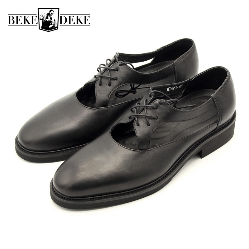 Mens Genuine Leather Sandals Summer Hollow Out Black Handmade Lace Up Formal Shoes Luxury Outdoor Gladiator Sandalias Hombre