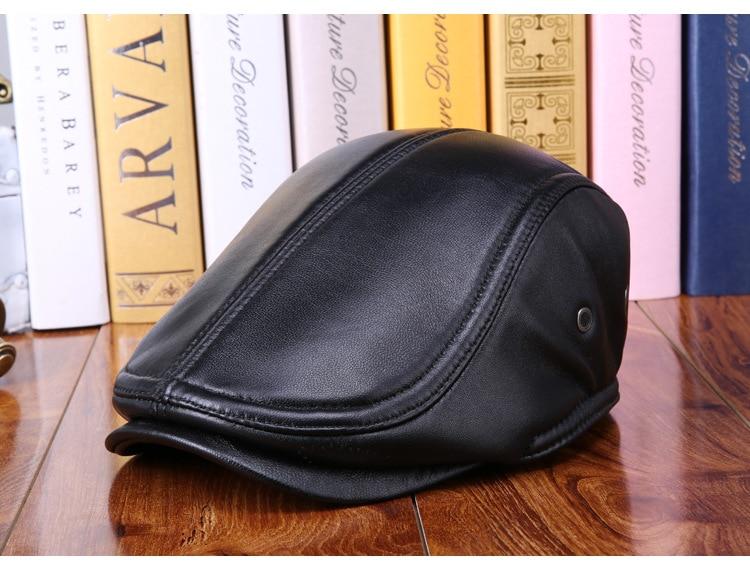 mens winter sheepskin leather baseball caps (6)
