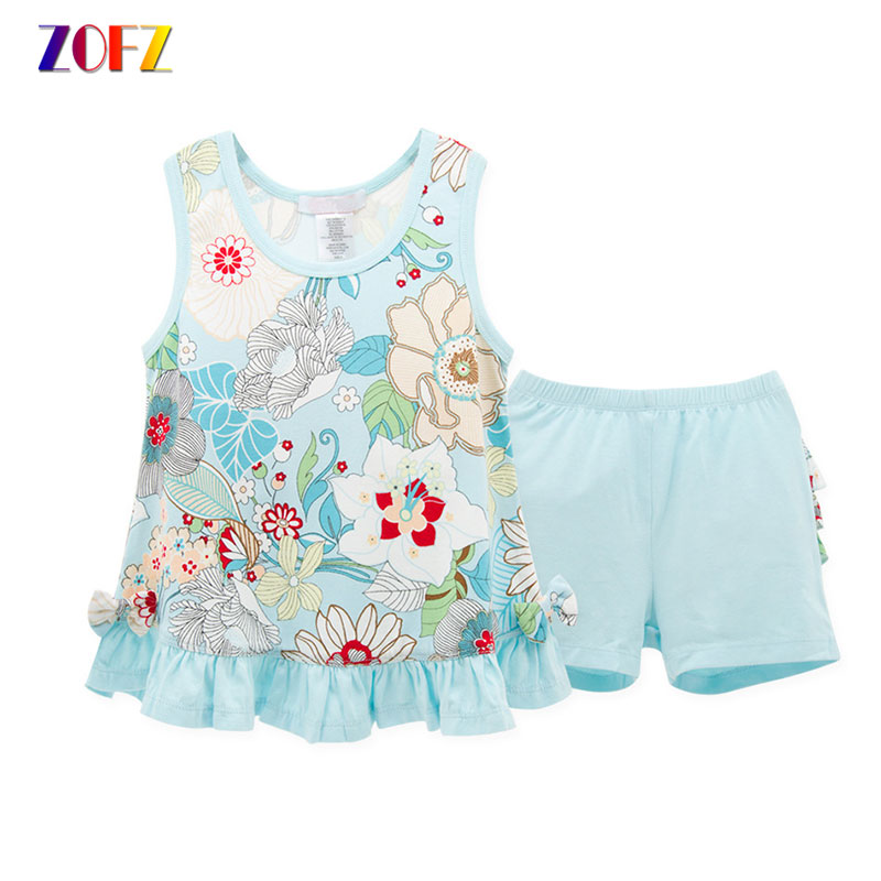 ZOFZ Children Clothes Floral Printed Sleeveless Top and Shorts Suit For Newborn Babygirls Cute Cotton Summer Kids Clothing Sets