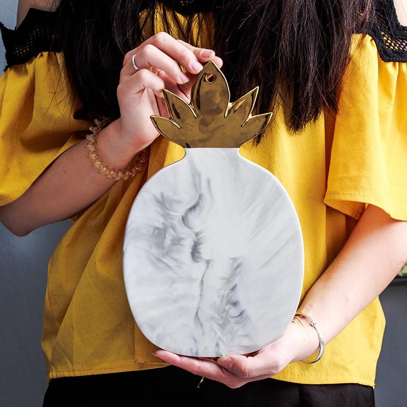 Lekoch piatto In Ceramica marmo Oro-placcato foglie texture ananas foglia oro piatti piatto di formaggi tagliere Formaggio, Utensili e Accessori