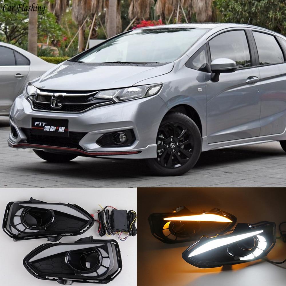 Car Flashing 1 Pair For Honda Jazz Fit 2018 2019 Led Drl Daytime
