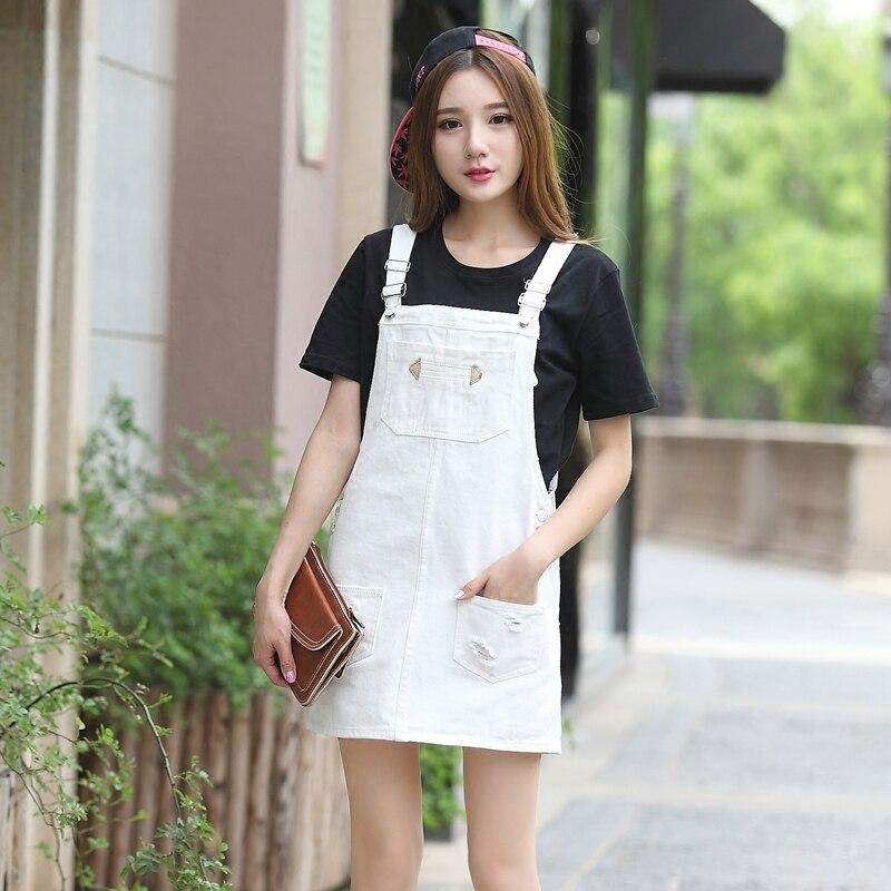 Strap Suspender Summer 2019 Denim Black Overall Sleeveless Sundress white Dress New Jeans Women Ripped Y498 Preppy gules Style Hole qIzwqf1