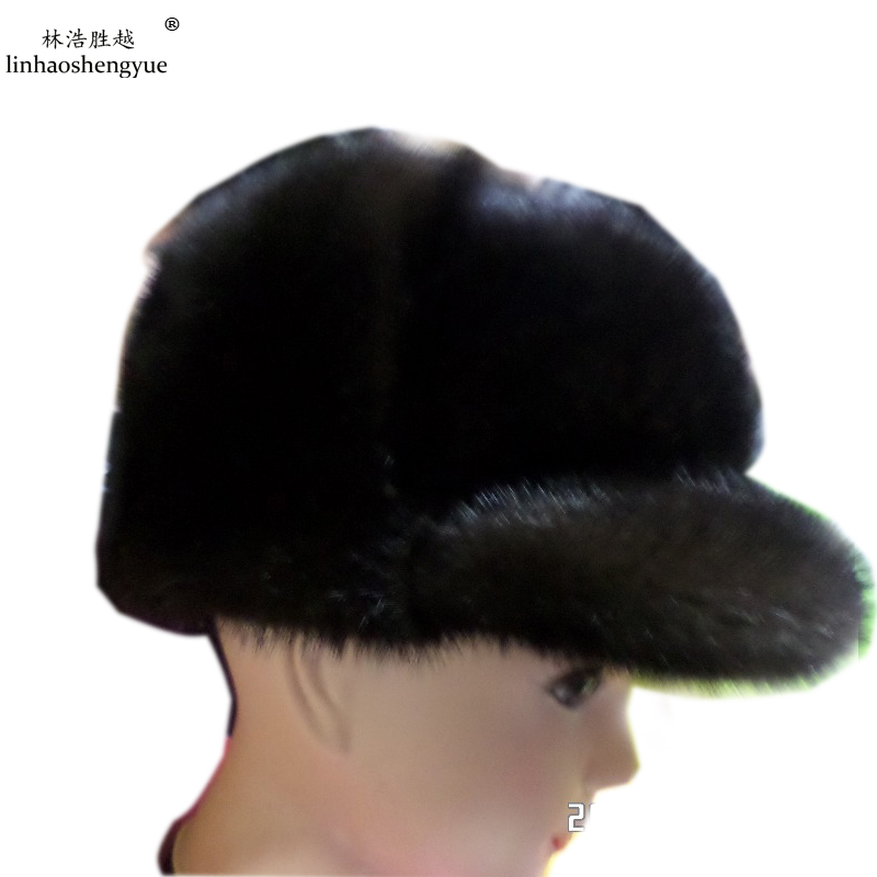 Linhaoshengyue 2014 new men's leather mink fur hats