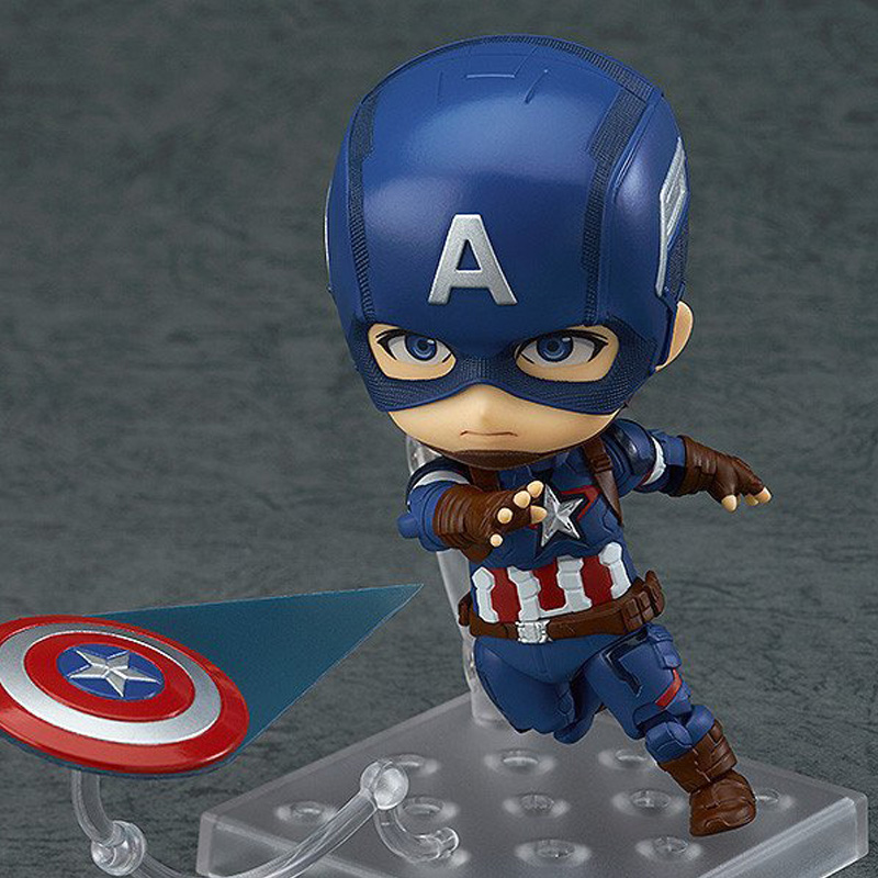 Anime Marvel Nendoroid Cute Kawaii Captain American Action Figure Toy Collection