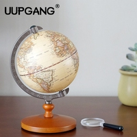 21cm English Edition Wooden World Globe Model Desktop Decor Vintage Globe Geography Terrestrial Globe Figurines Home Decoration