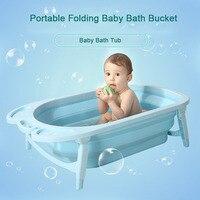 3 Colors Portable Folding Baby Bath Tub Large Size Anti Slip Bottom Non Toxic Material Children Bathtub Bucket for Baby Bathing