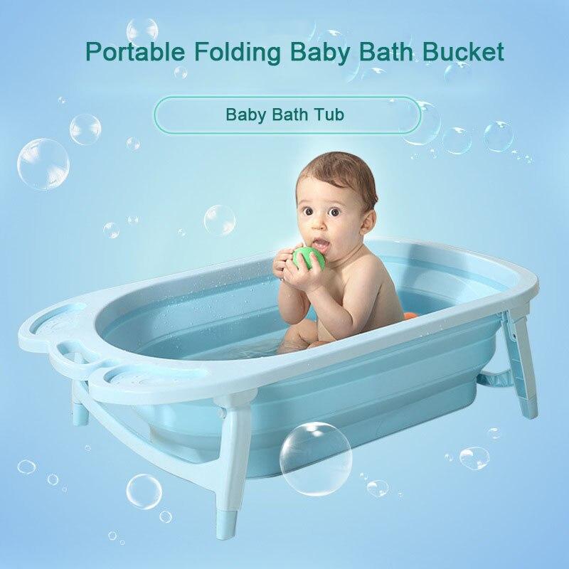 3 couleurs Portable Pliant Bébé Baignoire Grande Taille Anti-Slip Bas Non-Toxique Matériel Enfants Baignoire Seau pour Bébé de Bain
