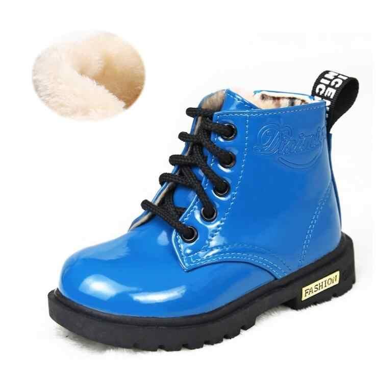 ขนาด 13.5-22 ซม. 2019 ฤดูใบไม้ร่วงฤดูใบไม้ร่วงฤดูหนาวรองเท้าเด็ก PU หนังหนังกันน้ำรองเท้า Snow Boots เด็กแฟชั่นรองเท้าผ้าใบ