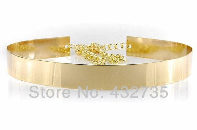 Al por menor nueva moda oro placa de Metal espejo con la cadena para mujer de la correa Vintage cinturón de cintura ancha para para 2014, envío gratis
