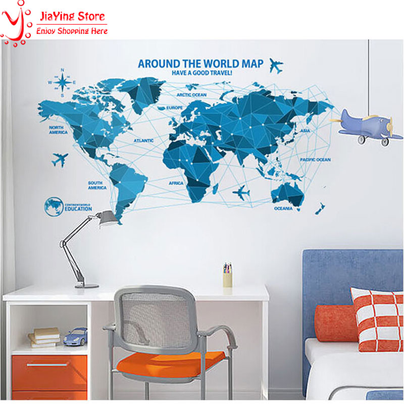 Large World Map Wall Stickers Living Room Home Decorations Creative Blue Map