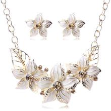 Austrian Crystal; Lacquered Flower Flower Jewelry Sets Women African Jewelry Maxi Necklace Earrings Set XY-N404