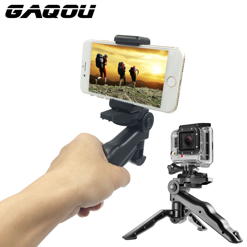 "GAQOU Universal Mini Tripod 90 ""Rotasjon Desktop & Handle Stabilizer For Mobile Phone Camera Gå Pro Med Cell Phone Holder Clip"