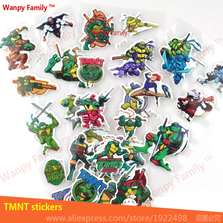 10 Pcs/Lot 3D animation TMNT wall stickers,3d Game Teenage Mutant Ninja Turtles stickers,For Kids rooms Fashion decor sticker ...