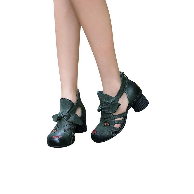 Sandales En Cuir Talon Chaussures Femmes Xiangban Orteil Véritable 2019 D'été Fermé Épais Spartiates 8TYzZxpwq