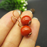 LANZYO 18k yellow gold Agate Drop Earrings fashion gift for women jewelry South Red Agate trendy new wholesale 00294096