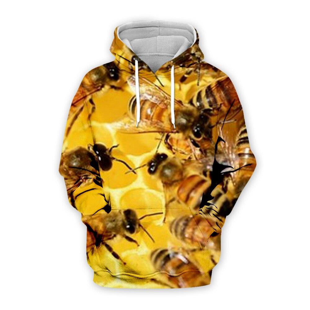 Animal Bee Print Hoodies 3D hooded Men Women Hoody Streatwear Sweatshirt Harajuku Tracksuit Anime Pullover Coat Dropship BEE0001