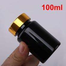 100 шт/партия) 100 мл/100cc толстые черные ПЭТ бутылки для таблеток винтовая металлическая Золотая крышка, баночки для капсул, фармацевтическая пластиковая бутылка