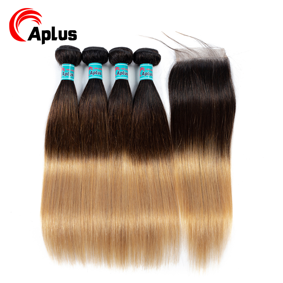 1b/4/27 Straight Hair Ombre Bundles With Closure 5Pcs/Lot 3 Tone Indian Hair Bundles With Closure Aplus Non-Remy Hair Extension