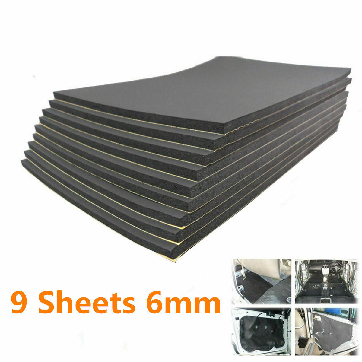 9pcs Car Auto Van Sound Proofing Deadening Insulation Foam 30cm*50cm*6mm Thermal Insulation In Dissipating Heat