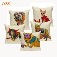 TOX Linen Cushion Cover 45x45cm Funny Iron Man Dog Print Decorative Pillow Case Cute Sofa Throw Pillowcase Car Seat  Home Decor
