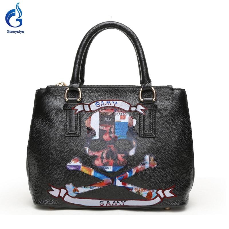 Gamystye New Graffiti Women Bags Genuine leather Handbags design hand paint skull handbags Colorful ART Bags Customize Picture