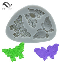 TTLIFE 3 Holes Butterfly Silicone Mold Fondant Cake Sugarcraft Baking Moulds Cookie Jelly Pudding Decorating DIY Tools Pink/Grey