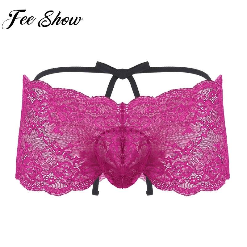 Lace Underwear Briefs Men Underpants Panties Lingerie See-through Bikini Sissy
