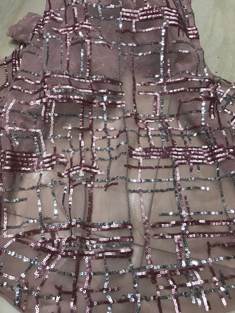 African sequins Lace Fabric ZH 7227 Fashion Beautiful sequins net lace Embroidery French Tulle Lace High