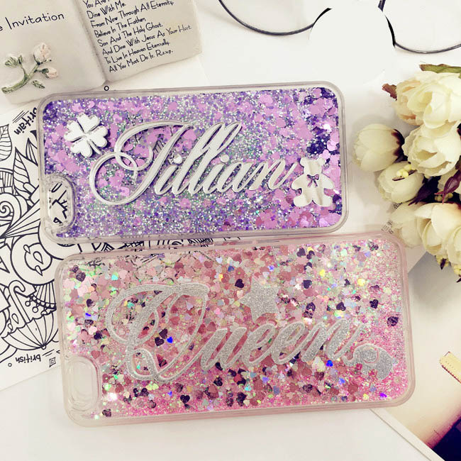 Luxury Personal Custom name Phone Case For Huawei P8 P9 P10 Lite Plus P20 Pro coque Liquid Quicksand Capa For Mate10 P10 selfie