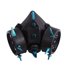 Steampunk Blau Spikes Maske Punk Industrielle Niet Gas Masken Atemschutz Cosplay Party Masken Zubehör Gothic Halloween(China)