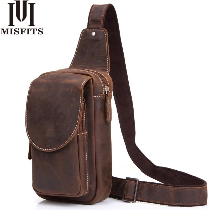 High Quality Men Shoulder Messenger Bag Crazy Horse Leather Chest Pack Genuine Leather Cross body Vintage