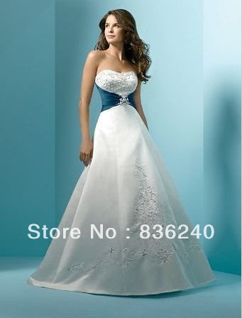 2014 Strapless White Royal Blue Embroidery Silver Color Bride Wedding Dresses In From Weddings Events On Aliexpress