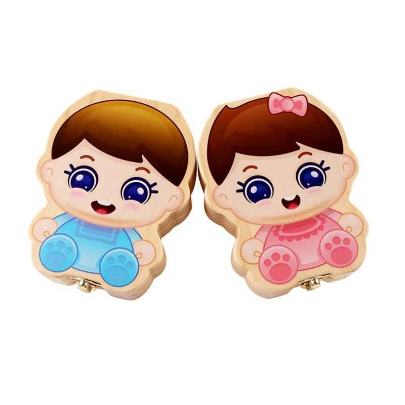 Популярная деревянная коробка для зубов, органайзер на китайском языке, деревянные молочные зубы Lanugo для хранения волос, коробки для хранения для маленьких детей от 3 до 6 лет, для мальчиков и девочек