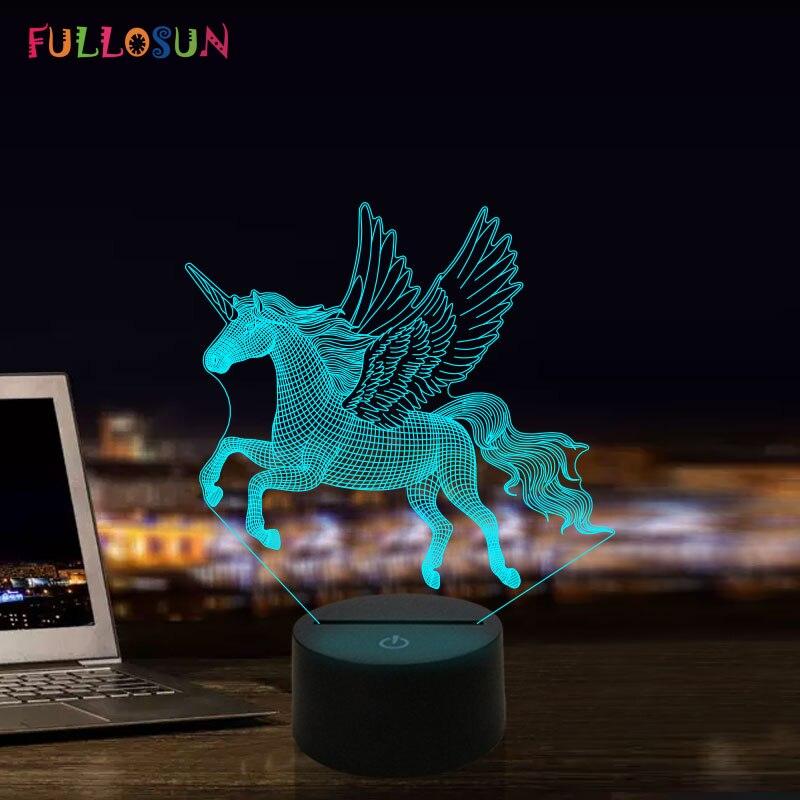 Cartoon Unicorn LED Light 3D Lamp 7 Color Change Touch Mood Night Lamp For Children Christmas Gift Novelty Lighting