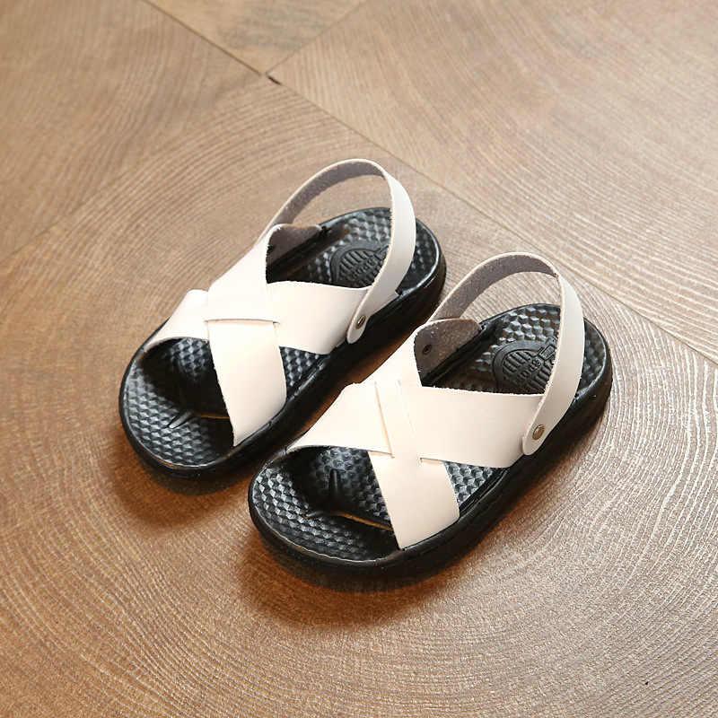 2019 новые сандалии для мальчиков, Летние повседневные пляжные сандалии из искусственной кожи, мягкая резиновая подошва, удобные тонкие сандалии для детей