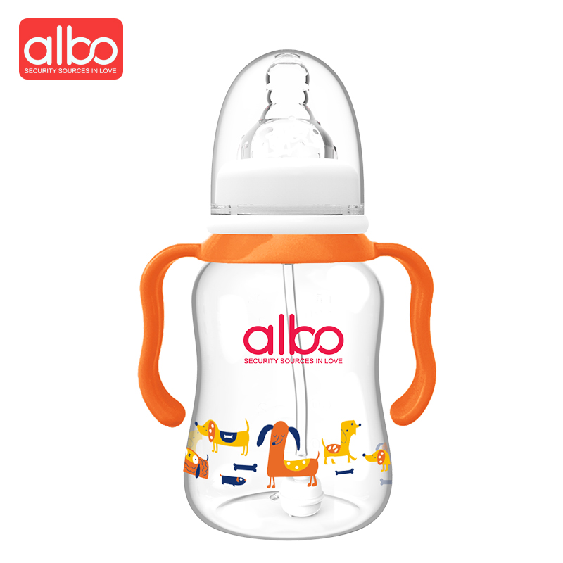 ALBOHot Selling Lovely Baby Feeding Bottle BPA Free High Quality Fashion Baby Feeding Bottle German Material Baby Nipple Safety ...