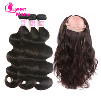 360 Frontal With Bundles Brazilian Body Wave Queen Mary 100% Non Remy Human Hair Weft Pre Plucked 360 Lace Frontal With Bundle