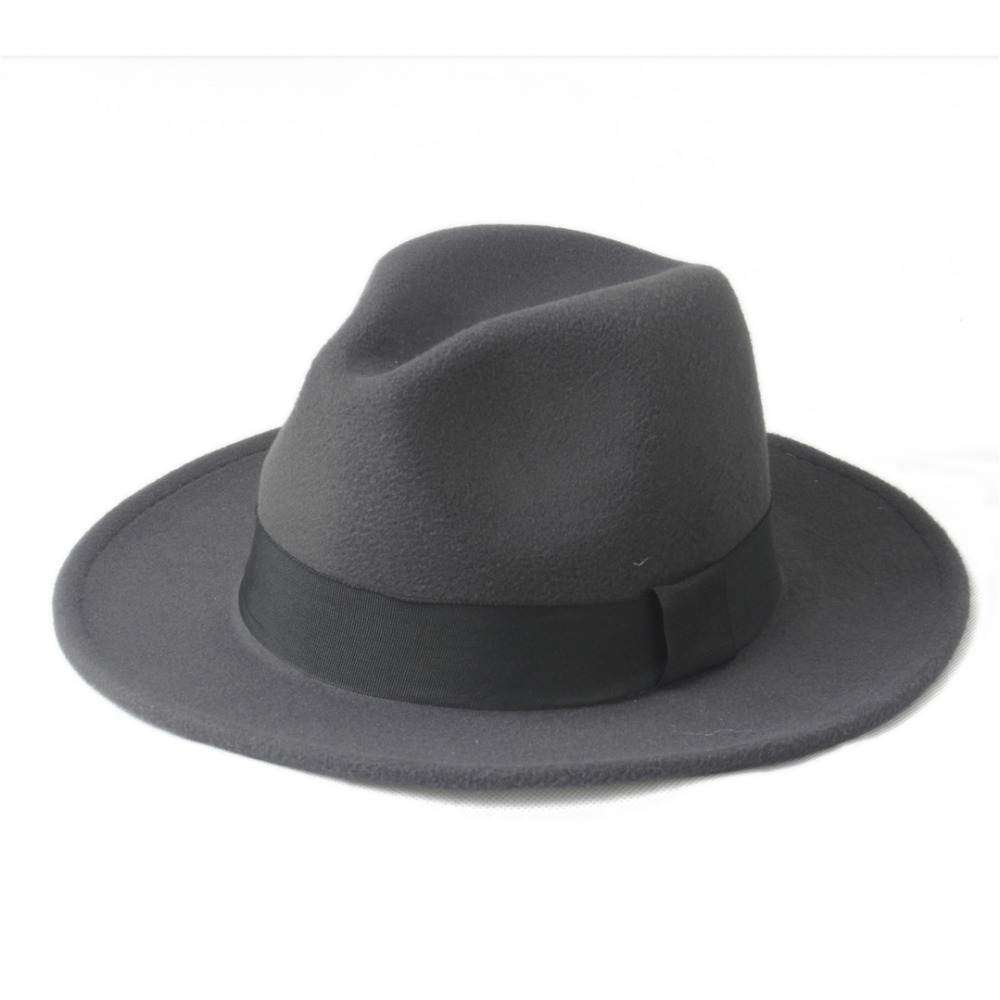 7847983fa 2 Big Size 100% Wool Men Felt Trilby Fedora Hat For Gentleman Wide ...