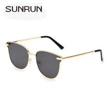 SUNRUN Vintage Cat Eye Sunglasses Mujeres Diseñador de la Marca de Metal gafas de Sol Mujeres Espejo Gafas de sol UV400 Oculos gafas de sol 18007