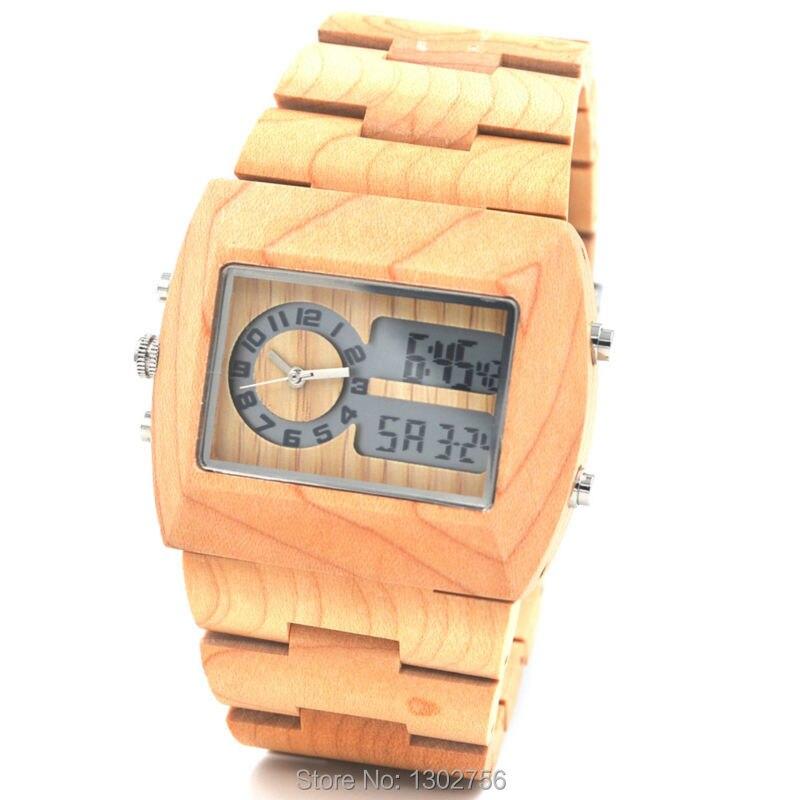 New Fashion Digital Analog Wood font b Watch b font font b Men b font font