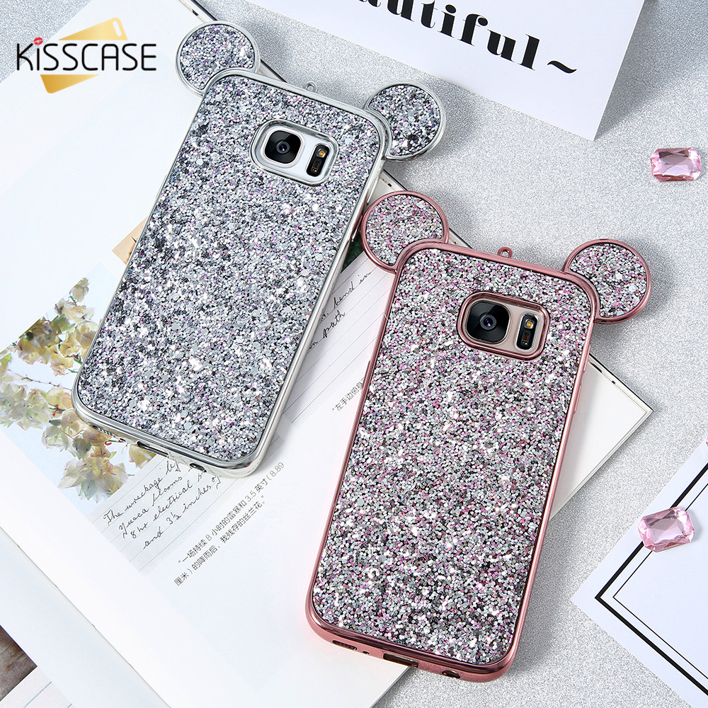 separation shoes 720fd 02cf2 Glitter Cases For Samsung Galaxy S8 S8 Plus Case 3D Cute Cartoon Animal Ear  Soft Silicon Cover For Samsung S7 S6 Edge