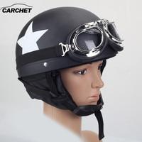 CARCHET 55 60cm Motorcycle Helmet with Goggles Detachable Visor Star Pattern Black Safety Motocross Helmets cascos para moto