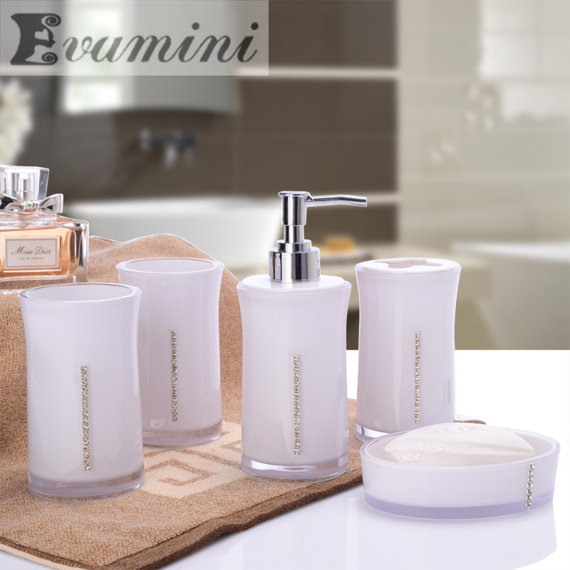 hot sale Bathroom set five sets of European simple wedding gift creative suite bathroom wash acrylic ware Free shipping